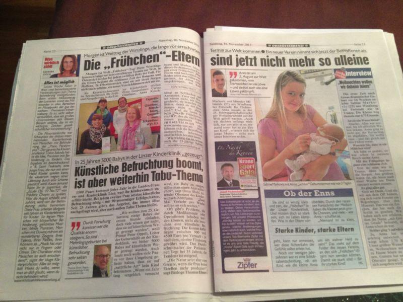 Beitrag in der Kronen Zeitung